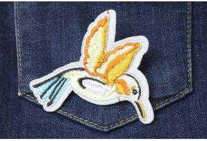 Нашивка на одежду, аппликация, Птица, 7x6 см, №1