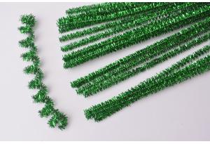 Синельная проволока пушистая с люрексом, 30 см, зеленая