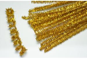 Синельная проволока пушистая с люрексом, 30 см, золотая