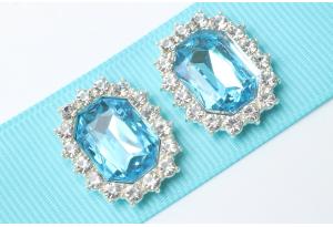 Кабошон металл серебро 2,1x1,7 см, с голубым камнем и стразами