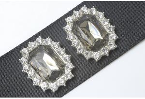 Кабошон металл серебро 2,1x1,7 см, с дымчатым камнем и стразами