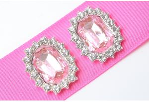 Кабошон металл серебро 2,1x1,7 см, с розовым камнем и стразами
