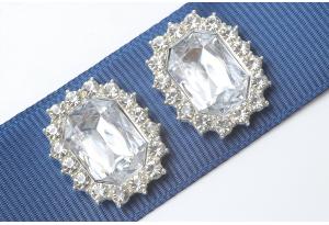 Кабошон металл серебро 2,1x1,7 см, с прозрачным камнем и стразами