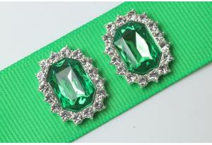 Кабошон металл серебро 2,1x1,7 см, с зеленым камнем и стразами