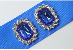 Кабошон металл серебро 2,1x1,7 см, с синим камнем и стразами