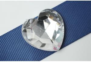 Камни акриловые сердце, прозрачные, конусный низ, 27 мм