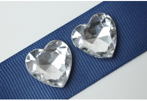 Камни акриловые сердце, прозрачные, конусный низ, 18 мм