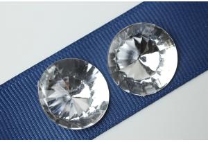 Камни акриловые круглые, прозрачные, конусный низ, 20 мм