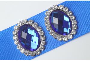 Кабошон металл серебро 2,4x1,9 см, овальный, с синим камнем и стразами