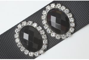 Кабошон металл серебро 2,4x1,9 см, овальный, с черным камнем и стразами