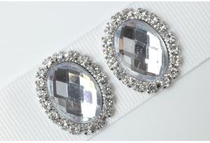 Кабошон металл серебро 2,4x1,9 см, овальный, с прозрачным камнем и стразами