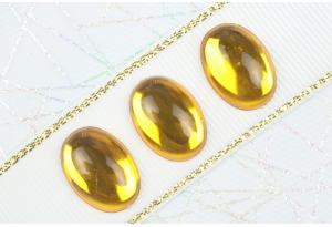 Камень клеевой Роса, полупрозрачный, 18*13 мм, желтый