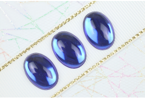 Камень клеевой Роса, полупрозрачный, 18*13 мм, синий