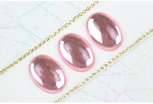 Камень клеевой Роса, полупрозрачный, 18*13 мм, розовый