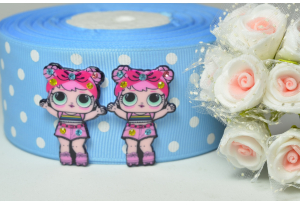 Кабошон кукла ЛОЛ (LOL) со стразами, Рассвет (Dawn) розовая, 3,5x2,3 см №8
