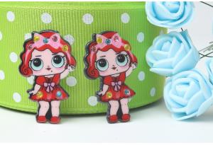 Кабошон кукла ЛОЛ (LOL) со стразами, с Бантиком красная, 3,5x2,3 см №1