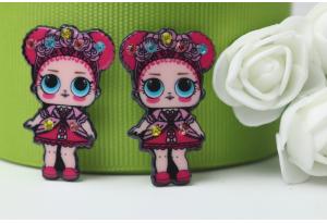 Кабошон кукла ЛОЛ (LOL) со стразами, с венком красная, 3,5x2,3 см №9