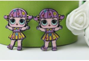 Кабошон кукла ЛОЛ (LOL) со стразами, в полосатом сиреневом платье, 3,5x2,3 см №5
