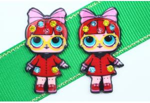 Кабошон кукла ЛОЛ (LOL) со стразами, в Очках красная, 3,5x2,3 см №10