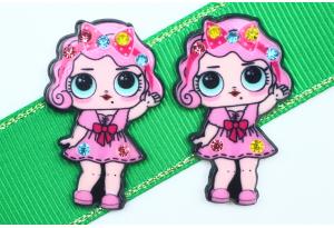 Кабошон кукла ЛОЛ (LOL) со стразами, с Бантиком розовая, 3,5x2,3 см №2