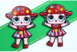 Кабошон кукла ЛОЛ (LOL) со стразами, в полосатом красном платье, 3,5x2,3 см №12