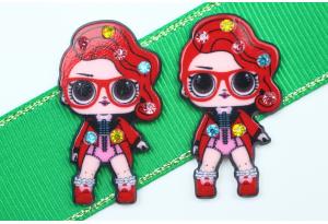 Кабошон кукла ЛОЛ (LOL) со стразами, Рокерша красная, 3,5x2,3 см №13