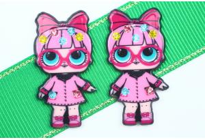 Кабошон кукла ЛОЛ (LOL) со стразами, в Очках розовая, 3,5x2,3 см №11
