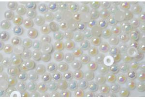 Полубусина 6 мм, белый перламутр