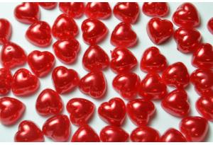 Серединка акриловая сердце красное, 10 мм