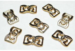 Протяжка для лент сердечки, 24х15 мм, пластик, золото