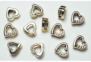 Протяжка для лент сердечко, 14x14 мм, пластик, золото