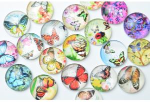 Серединка стеклянная круглая, Бабочки, 16 мм, супер микс