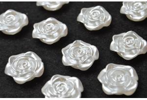 Кабошон, роза средняя, 2 см, белая