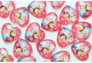 Серединка стеклянная сердечко, Эльза и Анна, 18 мм, розовая