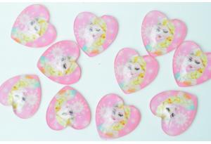 Серединка стеклянная сердечко, принцесса Эльза, 18 мм, розовая
