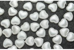 Сердечко с полосками, 10 мм, белое
