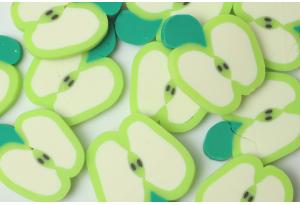 Серединка из полимерной глины, Яблочко зеленое, 20 мм