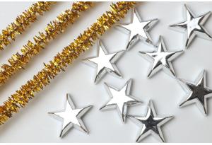 Серединка новогодняя, звездочка 15 мм, серебро