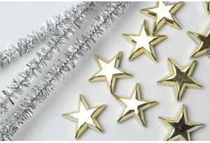Серединка новогодняя, звездочка 15 мм, золото