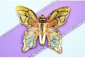Серединка объемная - подвеска бабочка 40x34 мм, с отверстиями  1 мм для подвески, желтая