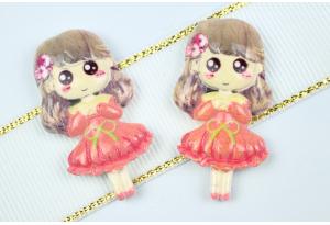 Серединка объемная, Девочка в платье, 38х20 мм, персиковая