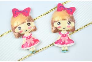Серединка объемная, Девочка в платье, 38х20 мм, розовая