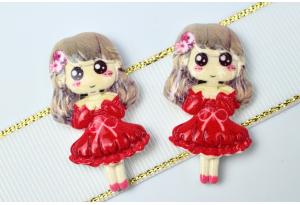 Серединка объемная, Девочка в платье, 38х20 мм, красная