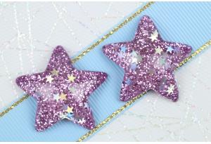Серединка объемная, Звезда с блестками, 31х29 мм, сиреневая