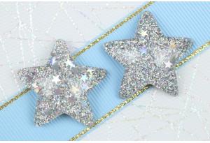 Серединка объемная, Звезда с блестками, 31х29 мм, серебро