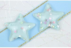 Серединка объемная, Звезда с блестками, 31х29 мм, голубая