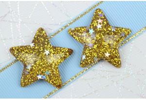 Серединка объемная, Звезда с блестками, 31х29 мм, золото