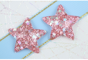 Серединка объемная, Звезда с блестками, 31х29 мм, розовая