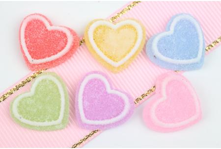 Серединка объемная, Сердечки сахарные, 17 мм, набор 6 шт.