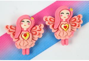 Серединка объемная, Ангел с сердечком, 27x27 мм, розовая
